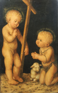 The Christ Child Blessing The Infant Saint John The Baptist by Lucas Cranach