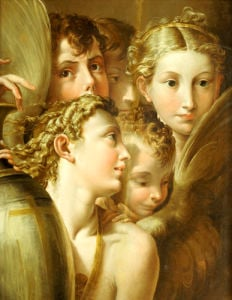 Five Angels. After Francesco Mazzola by Parmigianino Francesco Mazzola