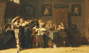 An Elegant Company Carousing In An Interior by Dirck Hals