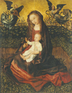 The Virgin And Child With Two Music-Making Angels In A Rose Garden by Rogier Van Der Weyden