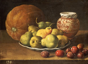 Pears On A Plate, A Melon, Plums, And A Decorated Manises Jar by Luis Egidio Melendez