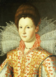 Portrait Of A Lady, Bust Length, Wearing An Embroidered Dress With Lace Ruff Collar by Christie's Images
