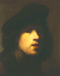 Rembrandt Portrait Wearing Black Beret by Rembrandt