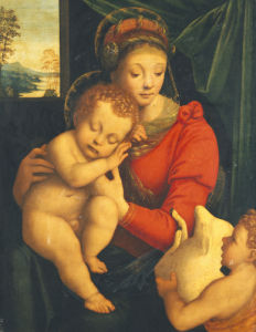 The Madonna With The Sleeping Child And The Infant Baptist by Bernardino Lanino