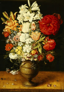 Lilies, Peonies, Tulips, Roses, Anemones And Other Flowers In A Tigerware Jug by Osias Beert I