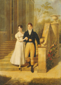 Portrait Of A Lady And A Gentleman On The Steps Of A Chateau by Anthelme Francois Lagrenee