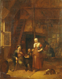 The Interior Of An Inn With A Man Paying A Serving Woman by Gillis de Winter