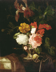 A Rose, An Iris, Lilac And Other Flowers In An Auricular Silver Vase by Willem Van Aelst