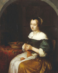 A Woman Knitting With A Basket Of Fruit On A Carpet-Covered Table Beside Her by Caspar Netscher