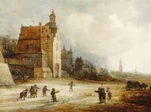 Soldiers Playing Skittles On A Road By A Manor House, Breda Beyond by Frans de Momper