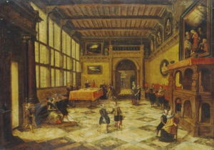 Ladies And Gentlemen Dancing In A Sumptuous Interior by Paulus Vredeman de Vries