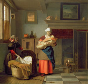Nursemaid with baby in an interior and a young girl preparing the cradle by Pieter de Hooch