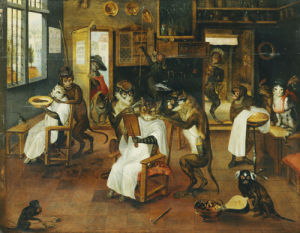 A Singerie: Monkey Barbers Serving Cats by Jan van Kessel