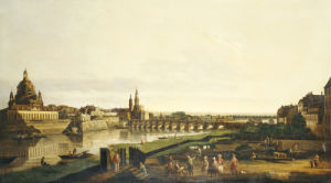 A View Of Dresden From The Right Bank Of The River Elbe by Christie's Images