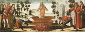 Saint John The Evangelist In A Vat Of Boiling Oil: A Predella Panel by Benvenuto di Giovanni