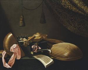 Lutes And Violin On A Table by Evaristo Baschenis