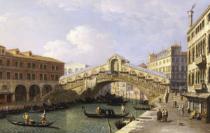 The Rialto Bridge Venice From The South With The Fondamenta Del Vin And The Fondaco Dei Tedeschi by Christie's Images