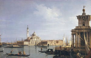 The Island Of San Giorgio Maggiore, Venice With The Punta Della Dogana And Numerous Vessels by Giovanni Canaletto