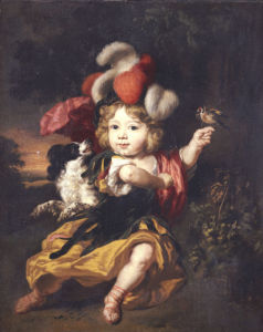 A Boy In Classical Costume Seated In A Landscape With A Finch And A Spaniel by Nicolaes Maes