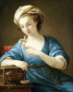 A Young Woman In Turkish Costume Seated Playing With A Cage-Bird, 1766 by Joseph Marie Vien