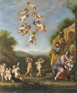 The Rest On The Flight Into Egypt With Putti Bearing Fruit And Disporting by Adriaen van Nieulandt