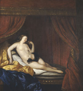 A Courtesan Reclining On A Bed by Charles-Emmanuel Biset