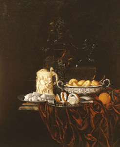 Pastry In A Silver Dish, Sweetmeats On A Plate, A Sculpted Ivory Tankard by Johann Georg Hinz