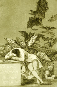 The Sleep Of Reason Produces Monsters. From 'Los Caprichios', 1799 by Francisco de Goya