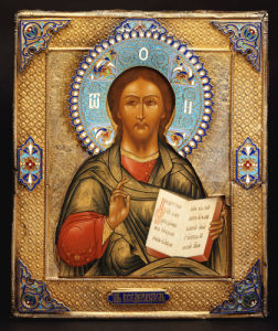 A Silver-Gilt And Cloisonne Enamel Icon Of Christ Pantocrater, 1895 by Assaymaster Anatolii Artsibashev