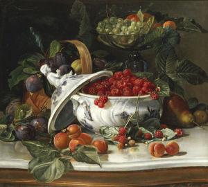 Plums, Grapes And Raspberries In A Porcelain Tureen, 1885 by Sophus Pedersen