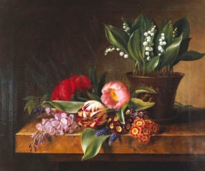 Lily Of The Valley, Tulips, Primula And Other Flowers On A Ledge, 1838 by Hanne Hellesen