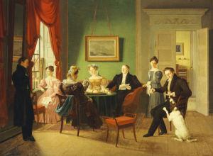 A Portrait Of The Schram Family, 1829 by Emilius Baerentzen