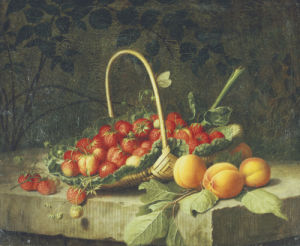 A Basket Of Strawberries With Peaches On A Stone Ledge, 1856 by William Hammer