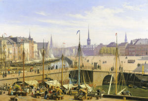 A View Of Copenhagen Towards The Stock Exchange From Gammel Strand, 1845 by Martinus Rorbye