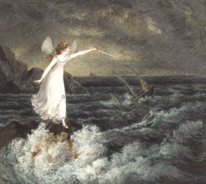 A Fairy Waving Her Magic Wand Across A Stormy Sea by Amelia Jane Murray Lady Oswald