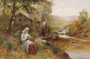 A Young Girl Picking Spring Flowers by Ernest Walbourne
