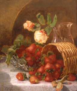 Strawberries And Roses On A Marble Ledge, 1880 by Eloise Harriet Stannard