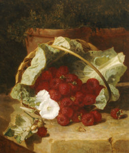Raspberries In A Cabbage Leaf Lined Basket, 1880 by Eloise Harriet Stannard