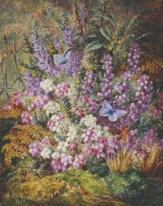 Blue Butterflies And Wildflowers, 1878 by Albert Durer Lucas