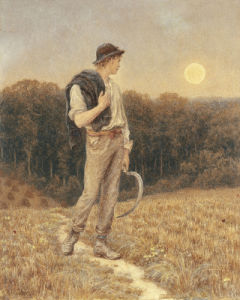 The Harvest Moon, 'Globed In Mellow Splendour', 1879 by Helen Allingham
