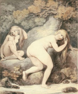 Two Women Bathing In A Stream by Thomas Rowlandson
