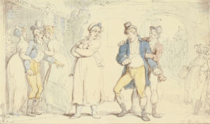 Two Young Gentlemen Quarreling Outside Grant's Bagnio by Thomas Rowlandson