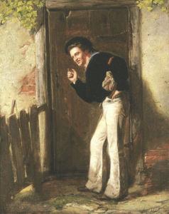 Waiting At The Cottage Door, 1872 by J.A. Harte