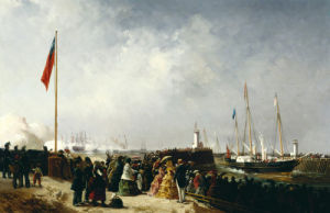 The Arrival Of The Royal Yacht, Victoria And Albert II At Boulogne Harbor On August 18, 1855 by Louis Bentabole