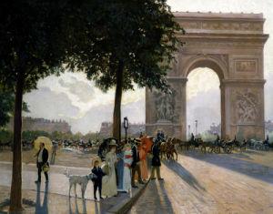 A Promenade By The Arc De Triomphe by Wilhelm Ulbert Lefebre