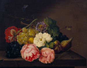A Still Life Of Flowers, Grapes And Figs by Fanz Xavier Petter