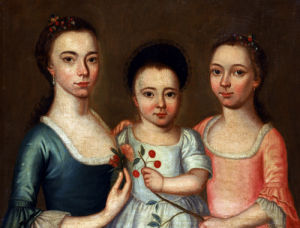 Portrait Of Three Young Girls by American School