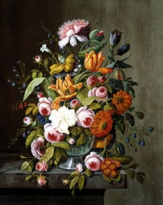 Summer Flowers In A Glass Bowl by Severin Roesen