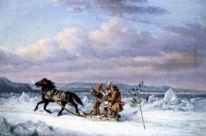 Huntsmen In Horsedrawn Sleigh by Cornelius Krieghoff