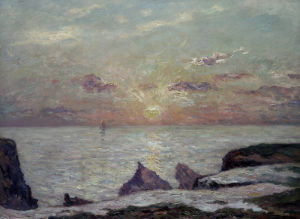 On The Cliff At Belle Isle En Mer At Sunset by Maxime Emile Louis Maufra